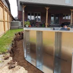 Steel walls with plumbing