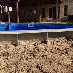 Complete pool prepared for landscaping