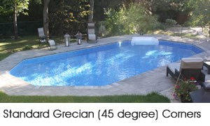 Grecian shaped swimming pool